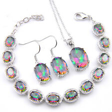 Hanmade Jewelry Set Natural Rainbow Mystic Topaz Gems Bracelet Pendant Earrings