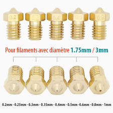 Buse Imprimante 3D M6 Printer Nozzle 0.2mm-1mm Laiton pour Filament 1.5mm ou 3mm