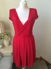 THE KOOPLES Red Pleated Short Dress Cap Sleeve Size Small UK 8/10 Wedding Guest