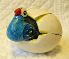 Parrot/Tropical Bird Hatching from Cracked Egg Ceramic Figurine Mexico FOLK ART