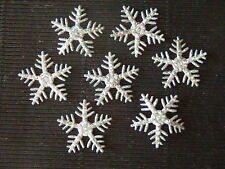 100 x 25mm SILVER SNOWFLAKES XM4 Scrapbooking Christmas Tree Cards Decorations