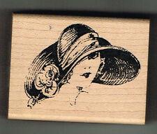 Sombrero De Dama en disquete sello de goma montado madera-Inkadinkado-Aprox 6.5 X 5 Cm