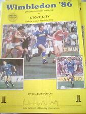 Wimbledon fc 1985-86 v Stoke City Div 2 Football Programme afc