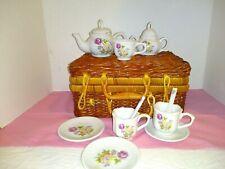 Miniature Tea Set Fine Collectibles Porcelain in Basket 12 pcs.  Nice Condition