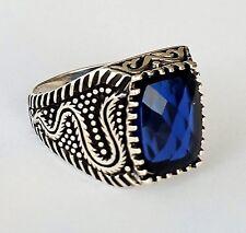 Faceted Sapphire Gemstone Turkish 925 Sterling Silver Mens Ring GemstonE