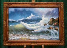 "LARGE SEASCAPE ""STORM ON ROCKY COAST"" LISTED ARTIST HAND PAINTED OIL CANVAS"
