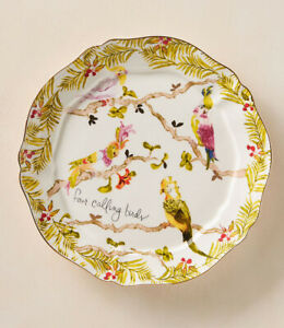 Anthropologie Inslee Fariss 12 Days of Christmas Plate 4 Four Calling Birds