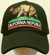 RETRO CALI CALIFORNIA REPUBLIC BEAR FLAG CA TRUCKER FOAM MESH CAP HAT SNAPBACK