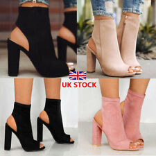 Women Zipper Slingbacks Peep Toe Ankle Boots Ladies High Block Heel  Shoes Size