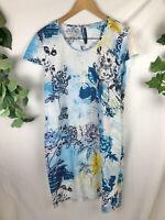 BLUE ILLIUSION Blue Floral 100% Linen Short Sleeve Shift Dress - XL