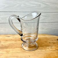 Vintage Etched  Butterflies Leafs Grapes Glass Pitcher