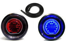 Digital 52mm Boost gauge 35 psi lights up Red or Blue Inc1m of Black Hose