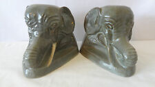 Brush McCoy Pottery 0126 1928 Elephants with Tusks Bookends C435