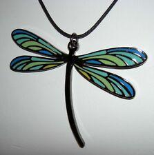 LALIQUE Enamel Art Nouveau Design Dragonfly Pendant Necklace Adjustable Cord