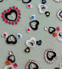 Nail Art 3D Sticker Color Crystal Decal Black & White Heart 43pcs