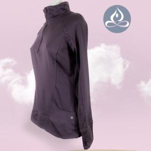 Apana Athletic Yoga Pullover Sweater Jacket Women 1/4 Zip Thumbholes Purples M