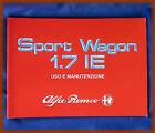 ALFA ROMEO 33 SW 1.7 IE - LIBRETTO USO E MANUTENZIONE