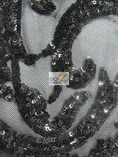 VICTORIAN SEQUINS EVENING DRESS FABRIC - Black - BY THE YARD BRIDAL ACCESSORIES