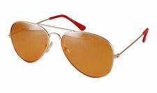SUPER NEW Designer Retro Gold Frame Aviator Sunglasses Cool ORANGE Colour Lens