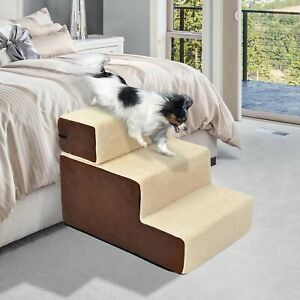 3 Steps Dog Puppy Ladder Ramp Washable w/Soft Pad Staircase