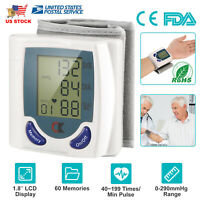 Portable Blood Pressure Monitor Wrist BP Cuff Heart Rate Check Pulse Machine USA