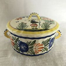HB Quimper Trinket Candy Round Lidded Box with Handles France Faience Vintage