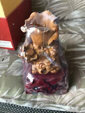 Chinese Harmonious Fortune Sculpture Wood Hand Carved  & Red Stone Sculpture NIB