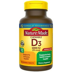 Nature Made Chewable Vitamin D3 1000 IU (25 mcg), Grape, 240 Tablets, USA Import