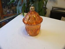 BEAUTIFUL VINTAGE IMPERIAL CARNIVAL GLASS MARIGOLD CANDY DISH CENTERPIECE !