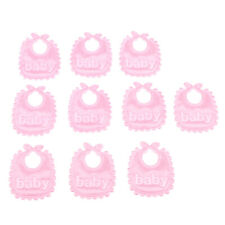 10 Pieces Baby Doll Bibs Set for 1/12 Dollhouse or Doll Accessories Pink