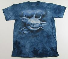 The Mountain GREAT WHITE SHARK 3-D Tie dye Blue SS T Shirt Size L