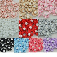 20 pcs Satin Ribbon Flowers Bows W/beads Appliques Wedding Decor Lots Mix E46