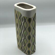 "Anthropologie Ceramic Vase Abstract Yellow Green White Chevron 4.5""x10.5"" Flower"