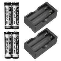4pcs 18650 Batteries 4000mah 3.7v Li-ion Rechargeable Battery + 2x Duel Charger
