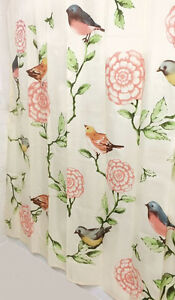 Birds & Blooms Shower Curtain IN HAND Ivory Fabric Pink Floral Flower Bath Decor
