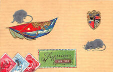 OPF Cuba Stamps Mice Cigar Label Flag Beautiful Postcard