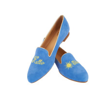 C. Wonder Suede Hello Sunshine Loafers - Chloe Sky Blue Sun Women's Shoes 6 New