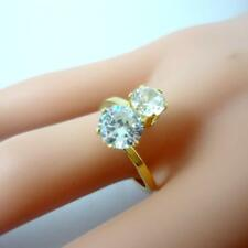 6pcs Gold Plated 100% Zircon Stone Stainless Steel Ring Women Jewelry Top
