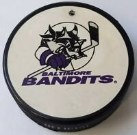 VINTAGE BALTIMORE BANDITS AHL INGLASCO OFFICIAL PUCK HOCKEY CANADA HOLE!