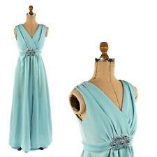 Vintage 70s Sky Blue Metallic Silver Shimmer VNeck Empire Waist Disco Maxi Dress