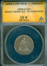 1858-S SEATED LIBERTY QUARTER ANACS VG 8 DETAILS (1824809)