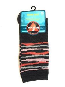 Wigwam Size M Dark Gray Pink Stripe Prairie Ridge Socks Merino Wool NEW 6-10