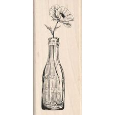 VINTAGE BOTTLE FLOWER Rubber Stamp 60-00457 Inkadinkado Brand NEW!