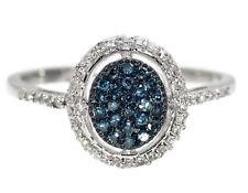 10k White Gold Ladies Blue/white Diamond Halo Cluster Fashion Engagement Ring