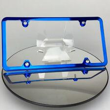 Candy Blue VW Porsche License Plate Frame w/ Aluminum Circle Caps Slim 4 Holes