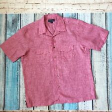 Paul Fredrick L men's shirt Pink 100% Linen Short  sleeve