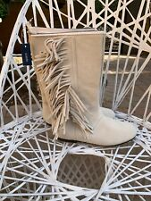 NWT Gap Suede Fringe Boots Girls Size 1 Neutral Boho Western Cowgirl Rodeo Shoes