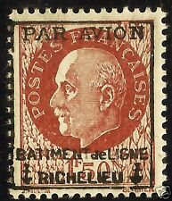 FRANCE TYPE PETAIN N° 3 ** SURCHARGE PAR AVION BATIMENT DE LIGNE RICHELIEU, MNH