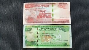 ETHIOPIA 50 & 10 Birr 2020 P New x 2 UNC Banknote Set