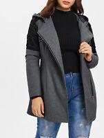 Women's Winter Plus Size Hooded Patchwork Woollen Long Coat Jackets Trench Parka